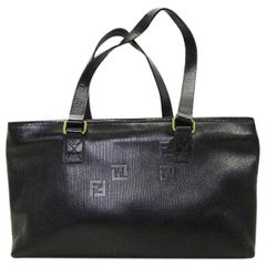 Vintage FENDI black stripe gained leather shopper tote bag with embossed FF logo