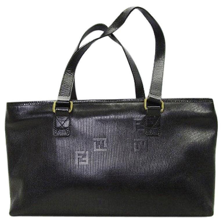 Vintage FENDI black stripe gained leather shopper tote bag with embossed FF logo
