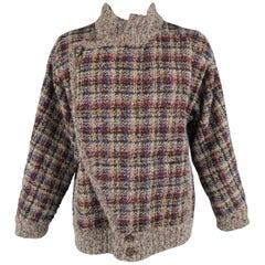 Vintage MISSONI L Grey & Burgundy Plaid Knitted Wool Blend Reversible Jacket