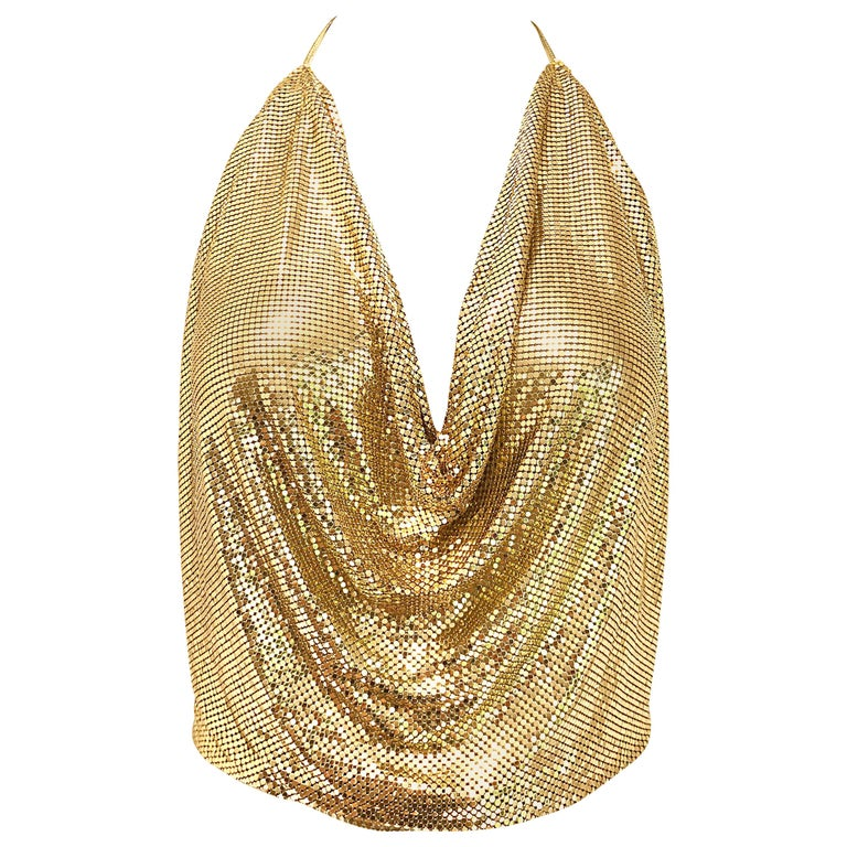 1970s Whiting and Davis Gold Metal Chain Mail Sexy Disco Vintage 70s Halter Top