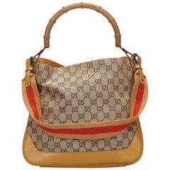 Gucci Brown Beige Multi Guccissima Bamboo Handbag