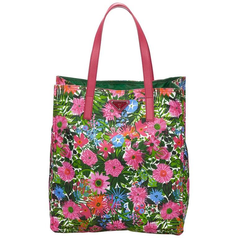 00fe09784017 Prada Green x Dark Green x Multi Tessuto Stampato Nylon Tote Bag For Sale