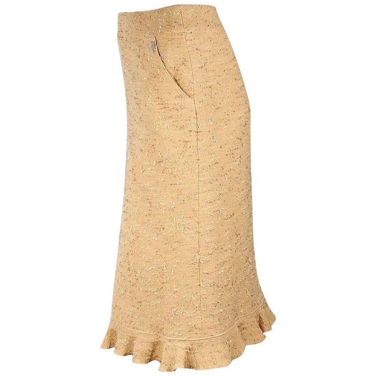 Yellow Chanel Tweed Pencil Skirt