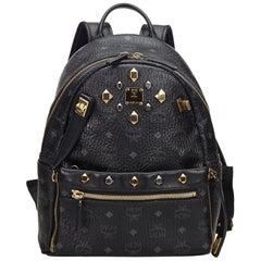 MCM Black Studded Visetos Leather Backpack