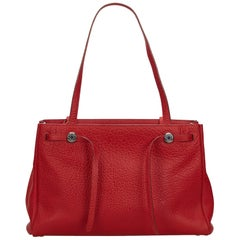 Hermes Red Leather Herbag Cabas