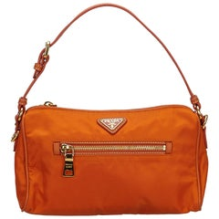 Prada Orange Nylon Baguette