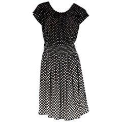 Brown & White Prada Polka-Dot Dress