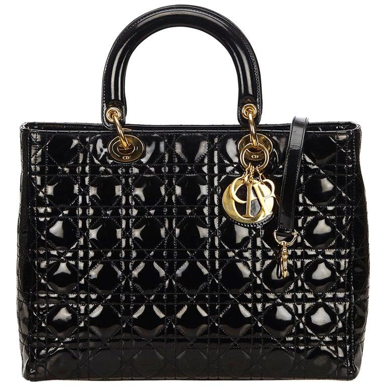 47dd973e5f Dior Black Lady Dior Cannage 2 Way Shoulder Bag For Sale at 1stdibs