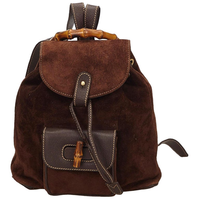 Gucci Brown x Dark Brown Bamboo Suede Drawstring Backpack