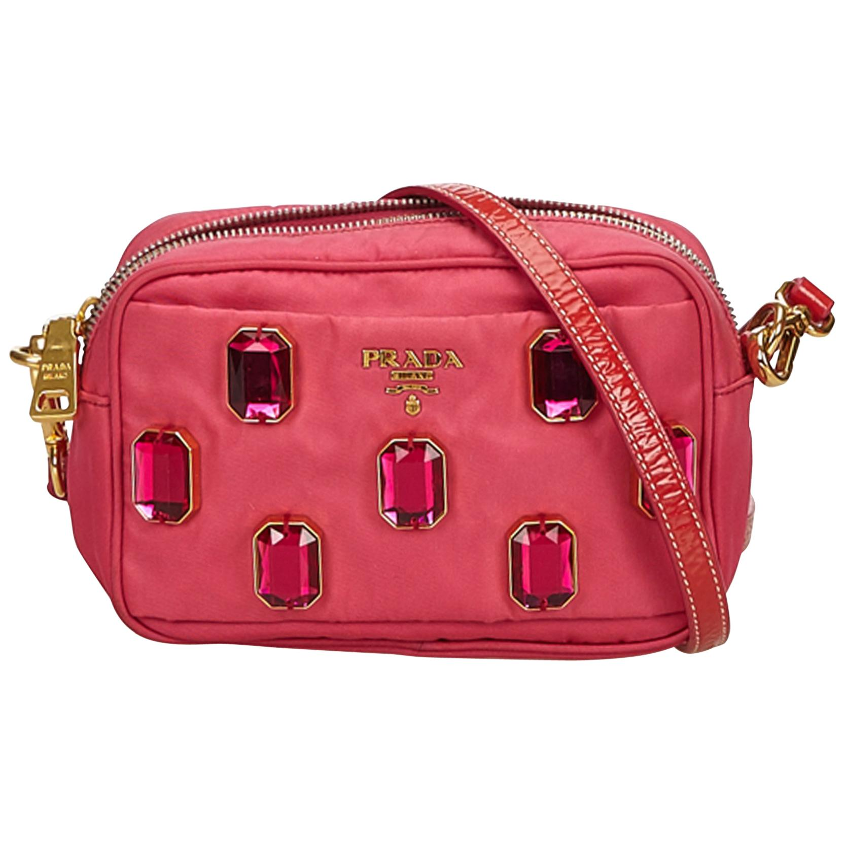 72fa400cdd939e ... denmark prada pink jeweled nylon crossbody bag for sale ea7da 50d21