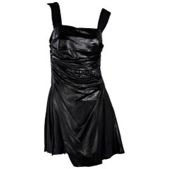 Black Prada Pleated Mini Dress