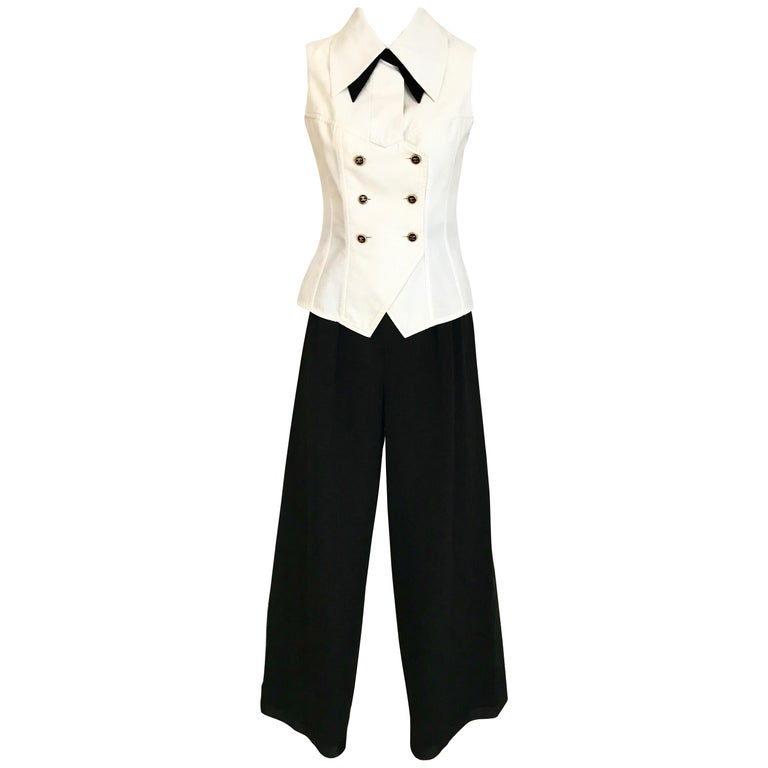 Chanel White Sleeveless Cotton Top and Black tuxedo pant suit set, 1980s
