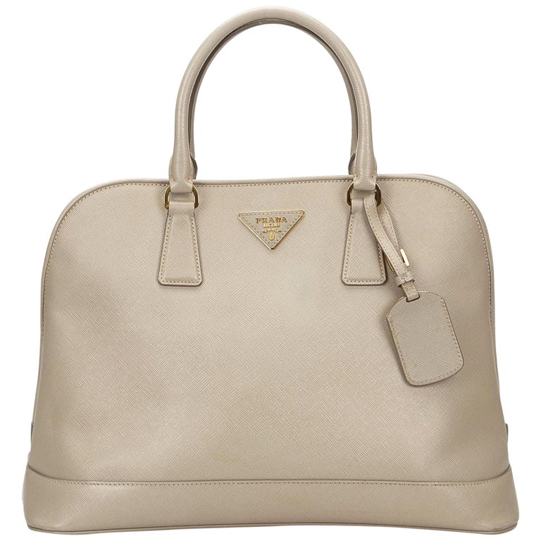 Prada Brown x Beige Saffiano Leather Handbag