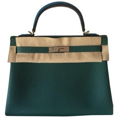 Hermès Bag Kelly Au Pas Limited Edition Malachite Noir Zanzibar Limited 32 cm