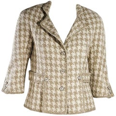 Tan & White Chanel Boucle Jacket