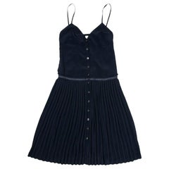 HERMES Pleated Dress in Navy Blue Silk Size 34FR