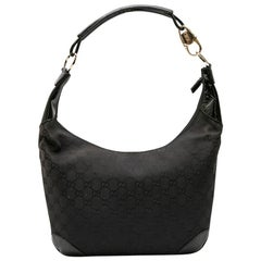 GUCCI Bag in Black Monogram Canvas and Patent Leather