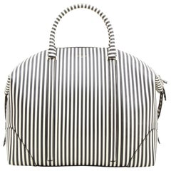 Givenchy Black Striped White Leather Weekend Bag