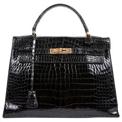 Hermès Vintage Black Varnished Crocodile Porosus Kelly 32 Bag