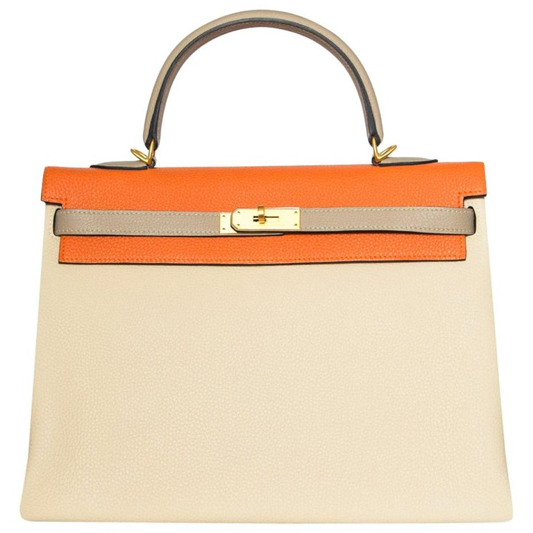 17ceffa7d2 Hermes Special Order Tri-Colour Togo Leather 35cm Kelly Bag For Sale ...