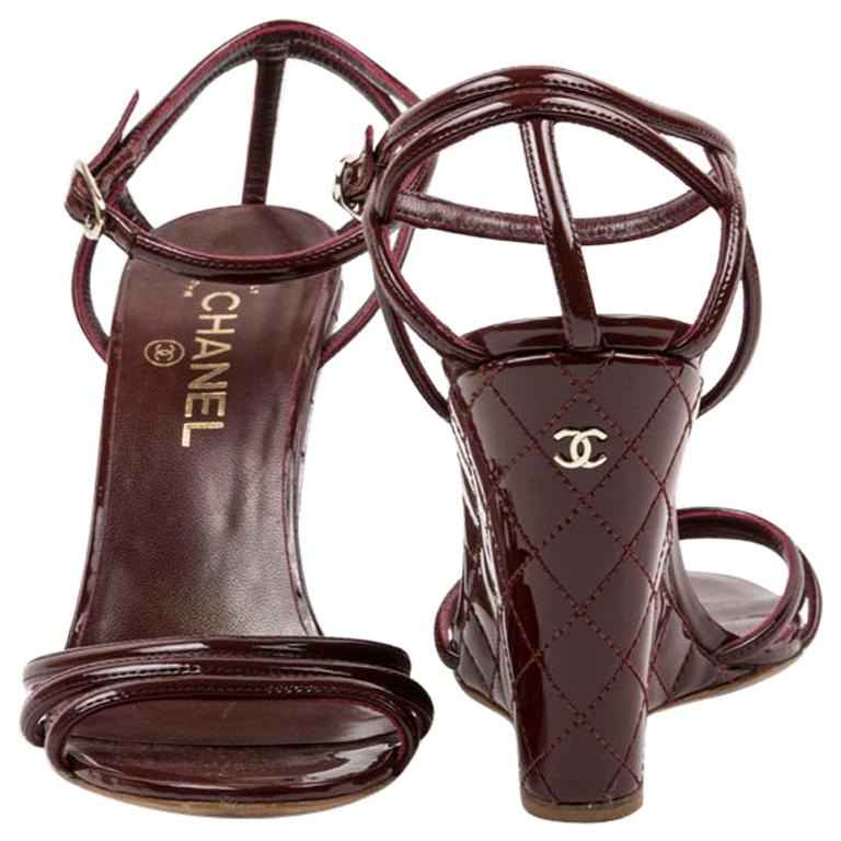 Chanel Burgundy Quilted Patent Leather Wedge Sandals For Sale At 1stdibs