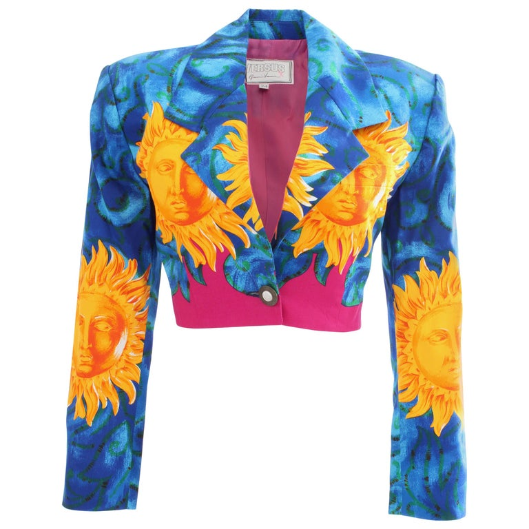 Versace Cropped Sun Print Jacket, Late 1990s For Sale