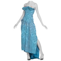 Morphew Strapless Gown with Boning Made from 1950s Blue Satin Demask