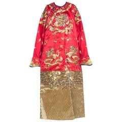 Kimono Style Metallic Golden Dragon Embroidered Red Chinese Opera Robe