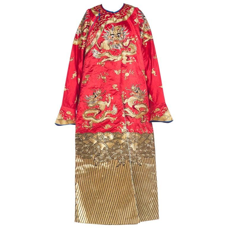 Kimono Style Metallic Golden Dragon Embroidered Red Chinese Opera Robe For Sale