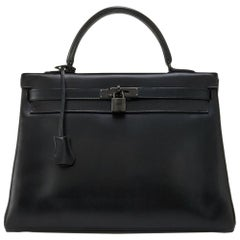 Hermes Limited Edition So Black 35cm Kelly Bag