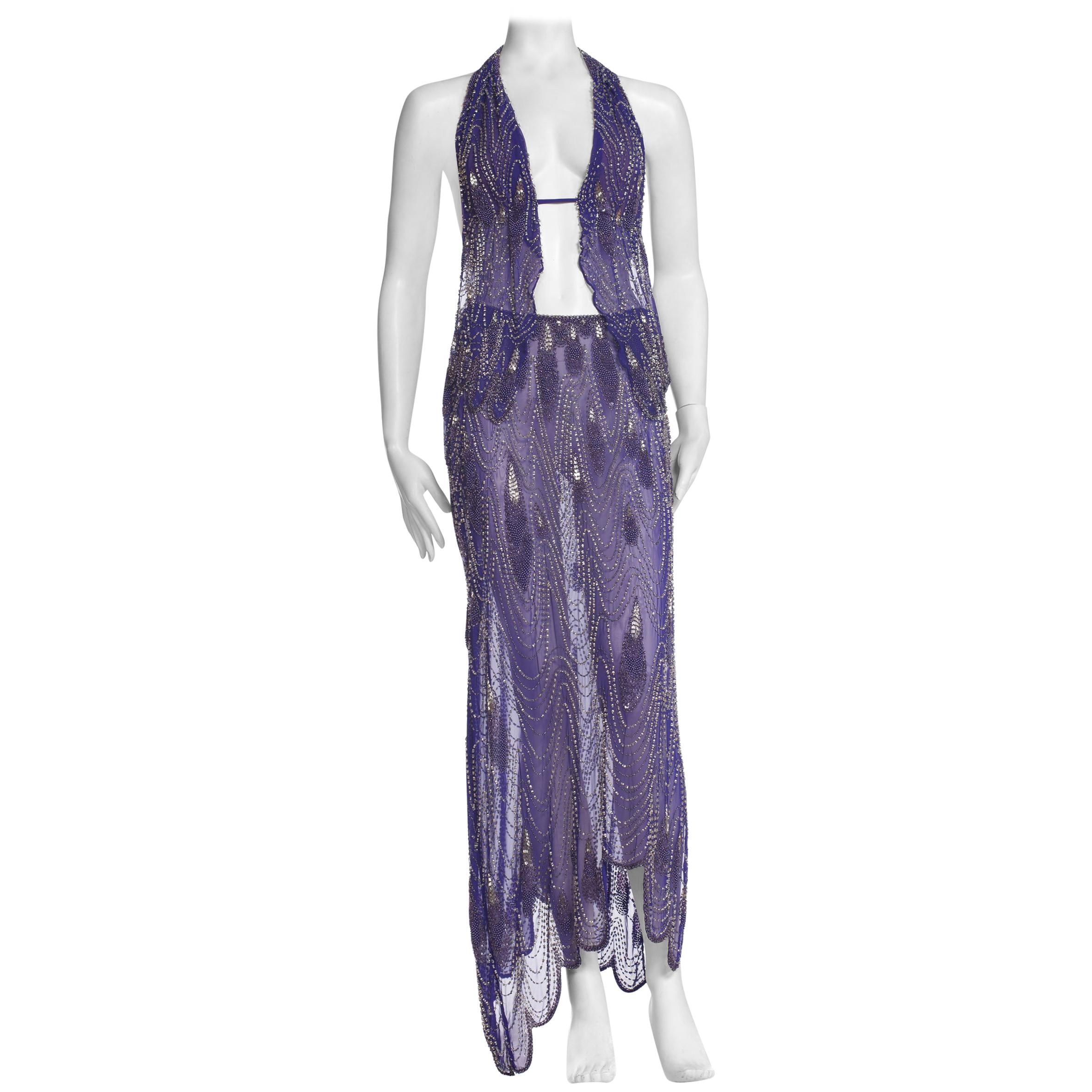 Morphew Collection Cher-Inspired 1970s Beaded Silk Purple Two Piece Ensemble