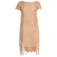 1920s Lace & Embroidered Silk Shift Dress