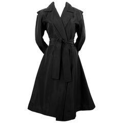Yohji Yamamoto black belted coat dress with shoulder cut-outs, 1990s