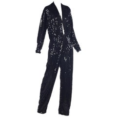 Oleg Cassini Black Sequin Plunge Neck Jumpsuit