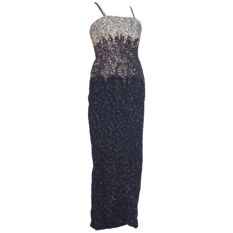 7d8782a9911 1950s Black and Silver Sequin Cocktail Dress owned by Vivienne Della Chiesa  For Sale