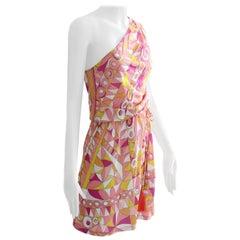 Emilio Pucci Pink Multicolor Print One Shoulder Dress Romper