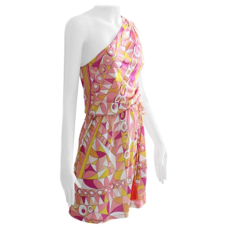 3d101a87345 Emilio Pucci Pink Multicolor Print One Shoulder Dress Romper For Sale