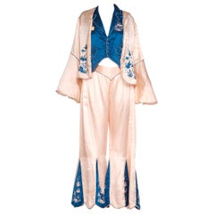 1920s 3 Piece Blue and Cream Chinese Beach Pajamas With Hand Embroidery