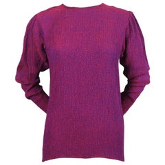 1980's SAINT LAURENT magenta silk plisse top