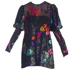 Black Chiffon 1980s Richelene Burnout Velvet Mini Dress with Bishop Sleeves