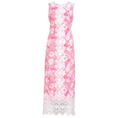 1960s Lilly Pulitzer Pink Floral Sleeveless Dress with Floral Lace