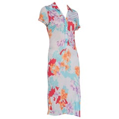 Light weight Leonard Semi-Sheer Silk Jersey Tropical Floral Print Dress