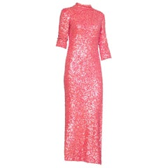 Coral Sequined Mid Length Sleeved Gown with Slit