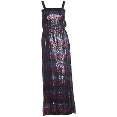 1970s Striped Sequin Disco Gown with Slit