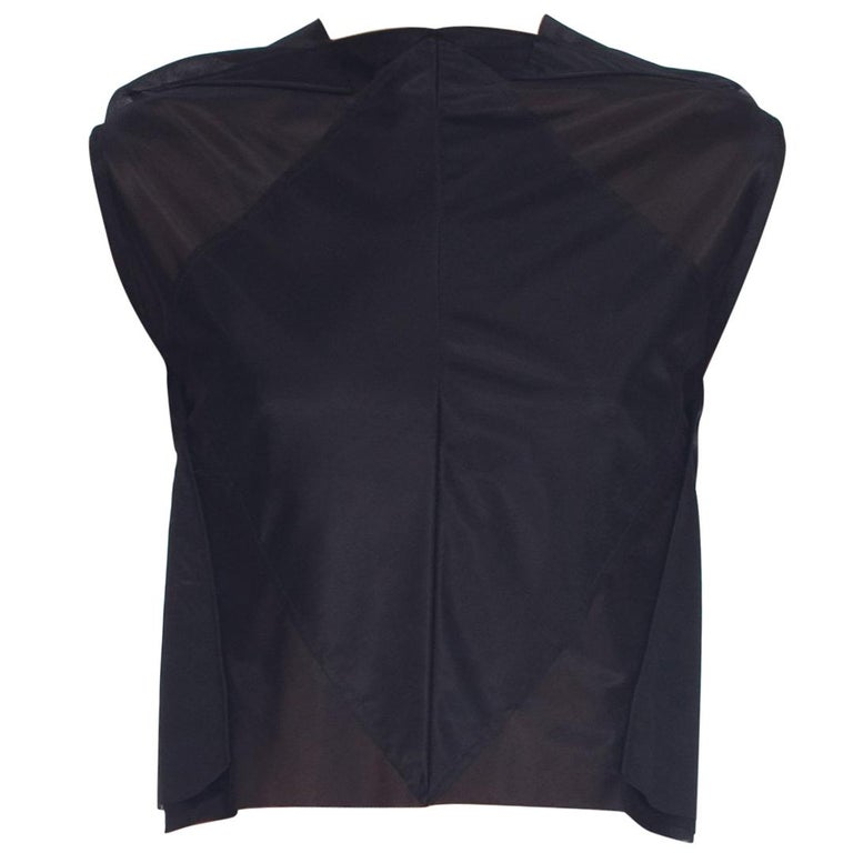 Margiela Black Geometric Sheer Seamed Crop Top