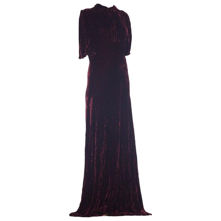 1930S Burgundy Bias Cut Silk Velvet Draped Bodice & Open Sleeve Gown XL For Sale