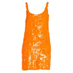 Stephen Sprouse Neon Orange Mod Inspired Vinyl Disk Minidress