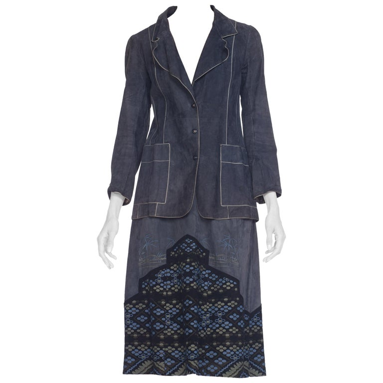 Roberto Cavalli Blue Suede Skirt Set with Printed Suede Panels, 1970s