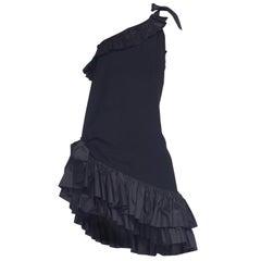 Yves Saint Laurent YSL 1980 black crepe and silk taffeta ruffles LIB