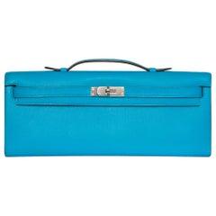 Hermes Paon Blue Kelly Cut Clutch Bag